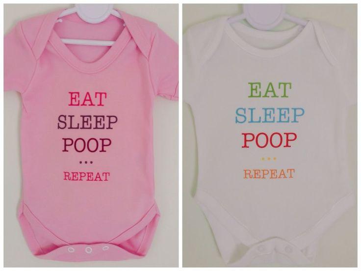 EAT SLEEP POOP REPEAT slogan funny baby vest babygrow onezie PINK OR WHITE