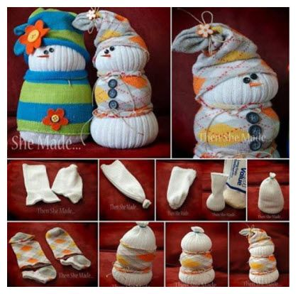 Sock Snowman Easy Tutorial #craft #diy Fun way to get rid of all those unmatched socks with the kids.