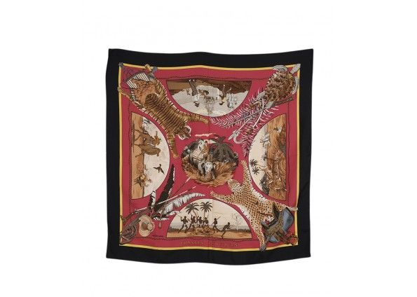 Hermes Chasses Exotique Pink & Black Silk Scarf