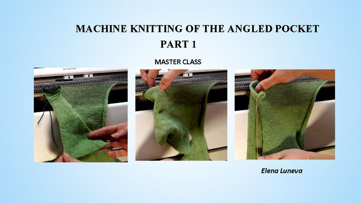 Machine Knitting of the Angled Pocket (part 1)