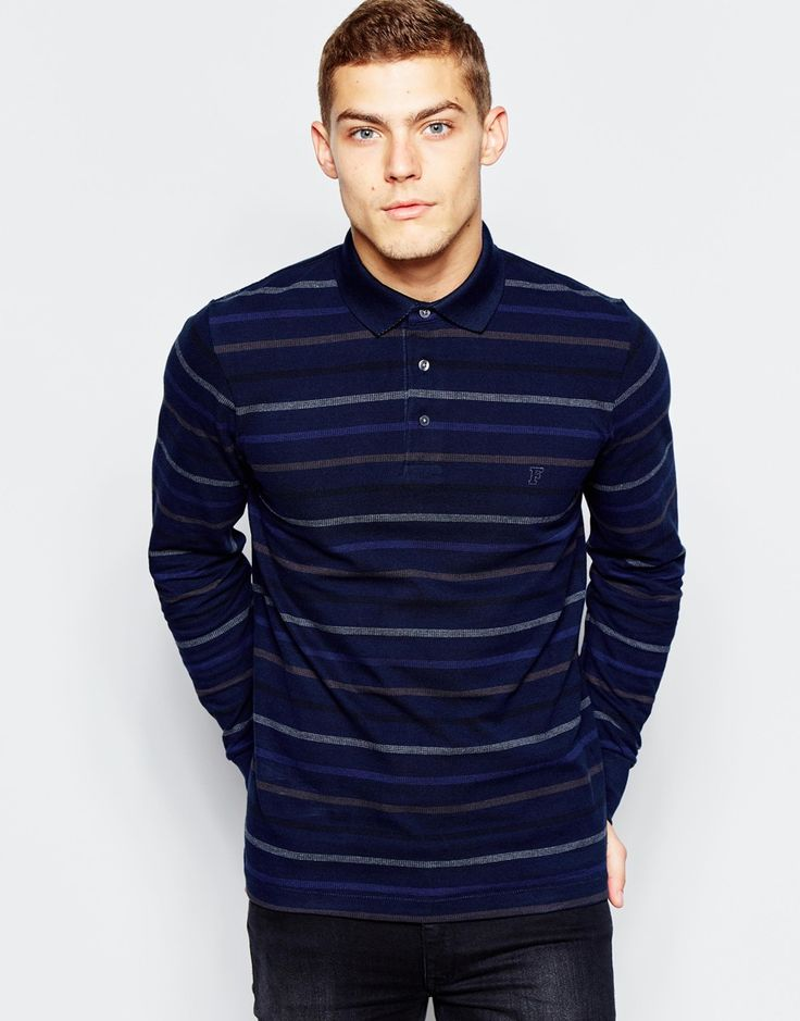 Image 1 of French Connection Long Sleeve Polo Shirt with Stripes