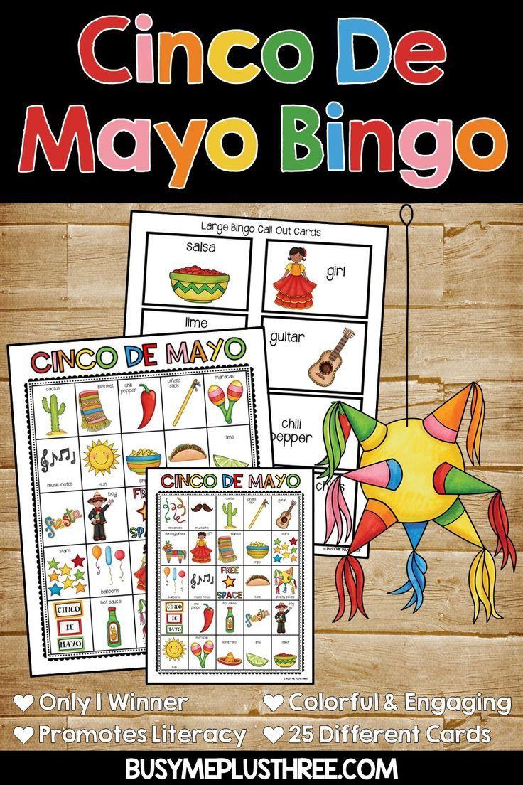 Cinco de mayo bingo game activity 25 different bingo
