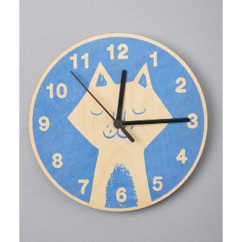 Cat Clock: A beautiful hand printed wooden clock with cute illustrated cat design, perfect for a little girl or boys bedroom.