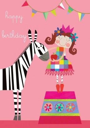 A Little Girl Feeding Her Circus Zebra A Great Happy Birthday Card
