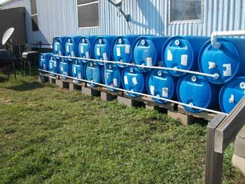 18-barrel rain catchment system for a total of just under 1,000 gallons