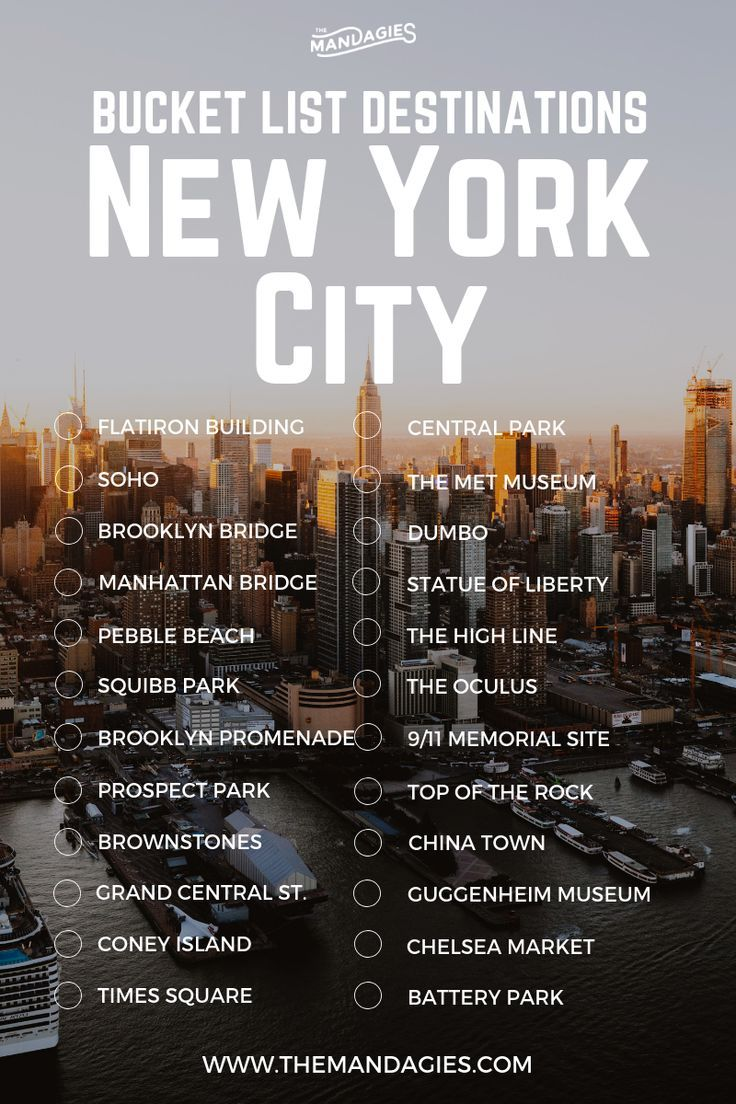 New York City Bucket List. Save this pin for future travel inspiration and click