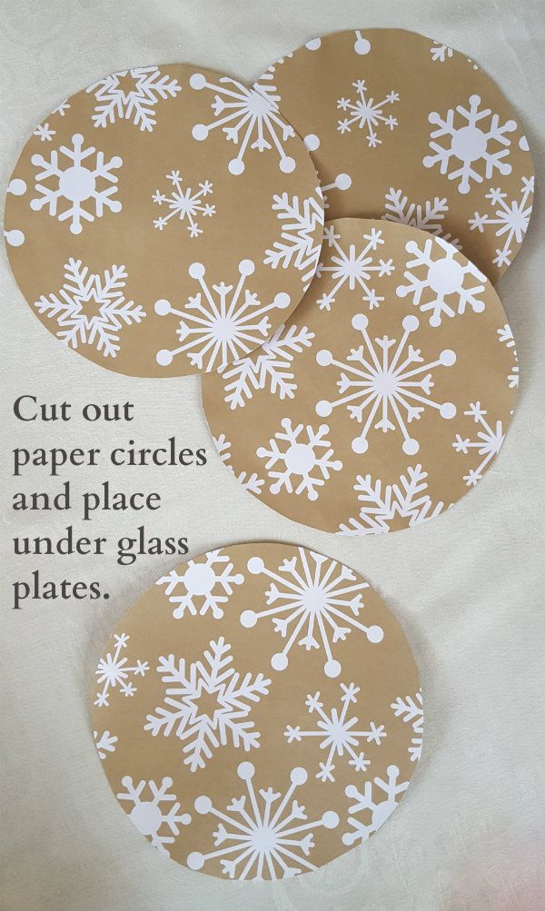 A pretty craft paper runner from Oriental Trading was exactly what I needed for cutting out the paper circles that I placed between my charger plates and my glass plates. The snowflake design is perfect for the table! Then each setting is personalized with a cut-out felt Christmas greeting. (I used a salad plate turned upside down as a template for paper circles.)
