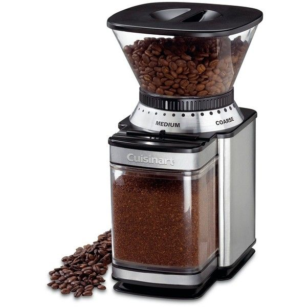 Cuisinart Supreme Grind Automatic Burr Mill Coffee Grinder ($50) ❤ liked on Polyvore featuring home, kitchen & dining, small appliances, stainless, cuisinart coffee grinder, electric mill, cuisinart, stainless steel coffee grinder and electric coffee grinder