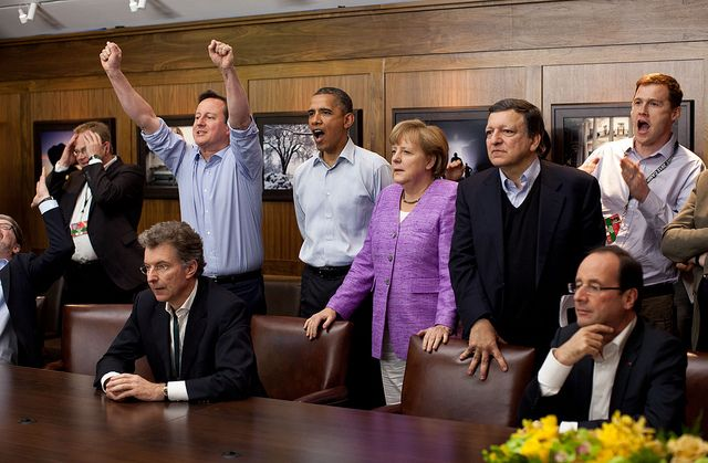 Priceless!..........Prime Minister David Cameron , President Barack Obama, Chancellor Angela Merkel of Germany, Jose Manuel Barroso, President of the European Commission, and new French President, François Hollande(sitting right) watch the European Champions League penalty shootout, between the English Club, Chelsea and Bayern Munich(Germany), while at Camp David for the G8 Summit. Chelsea won 4-3 following a 1-1 draw at extra time.