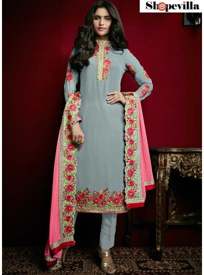 Winsome Embroidered Georgette Grey Designer Pant Style Suit-15008