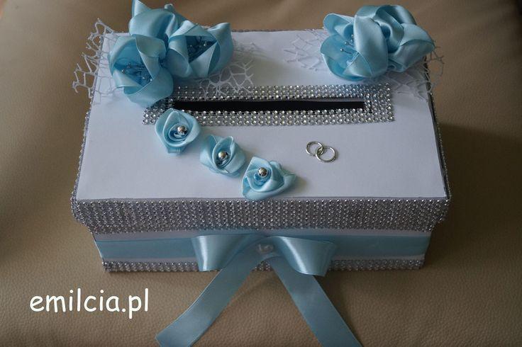 Pudełko - Pudełka na Koperty - Pieniążki .... Ślub, I Komunia Św., Błekit Biel i Srebro , Wedding