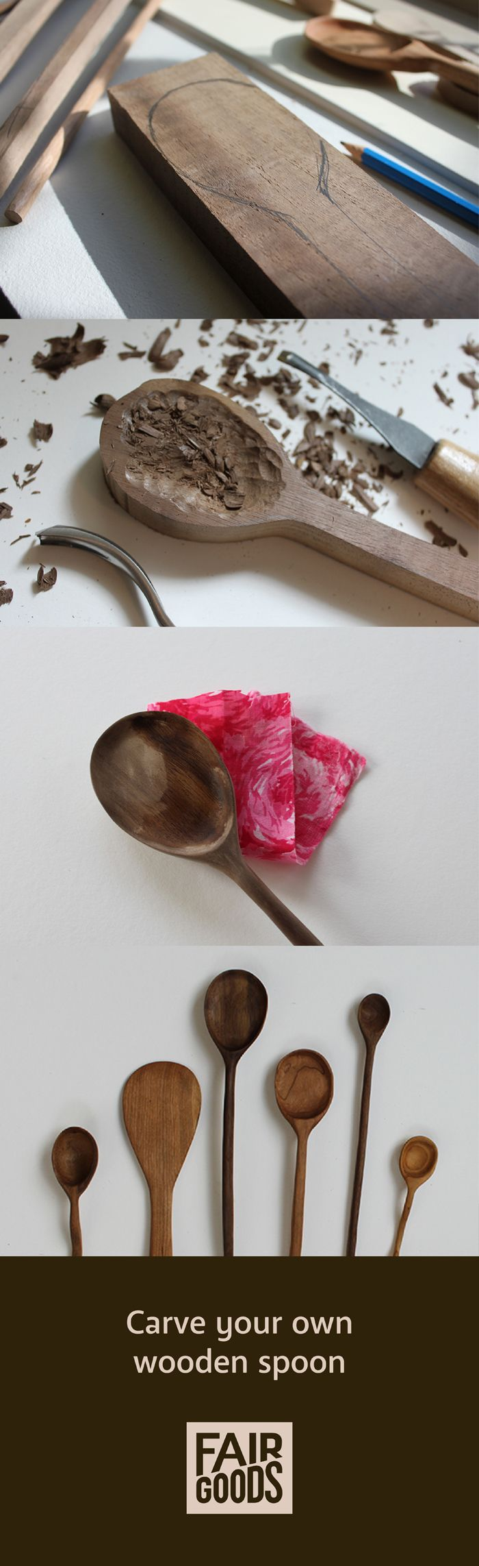 How to Carve Wooden Spoons - an easy, clear tutorial