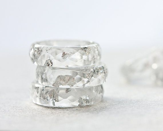 Resin Ring Silver Flakes Icicle Small Faceted Ring OOAK winter white minimalist jewelry rusteam on Etsy, $30.64
