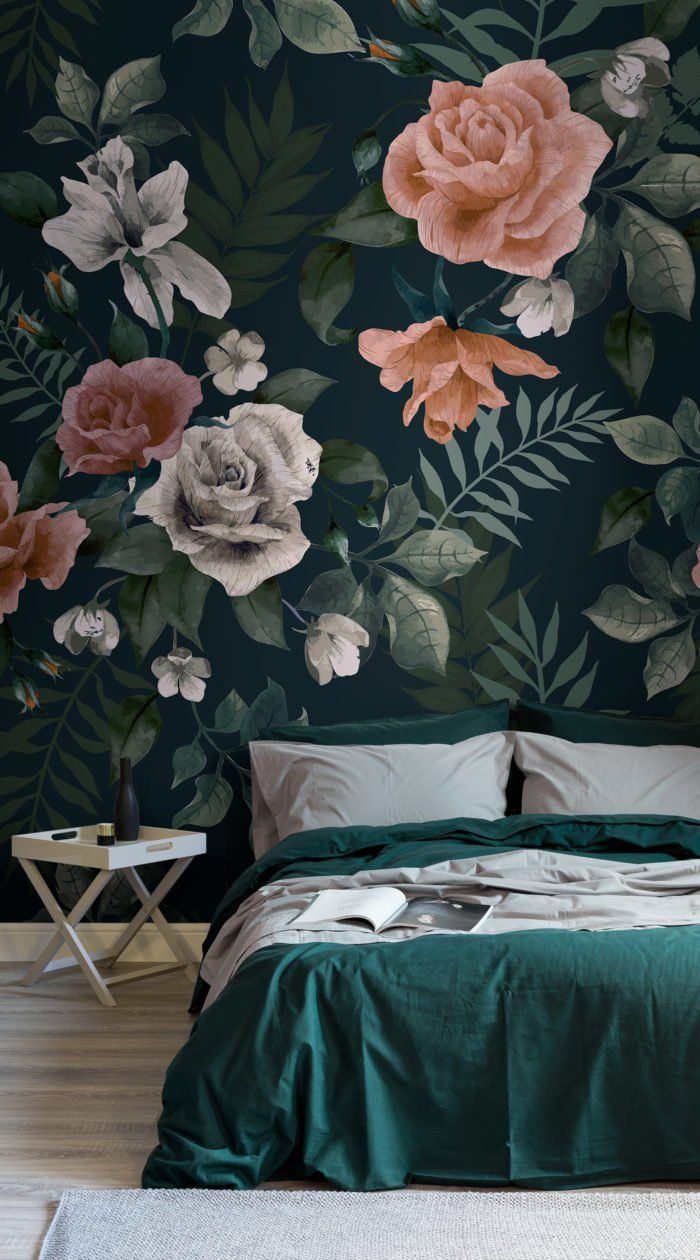 Dark Green And Pink Floral Wall Mural In 2020 Pink Green
