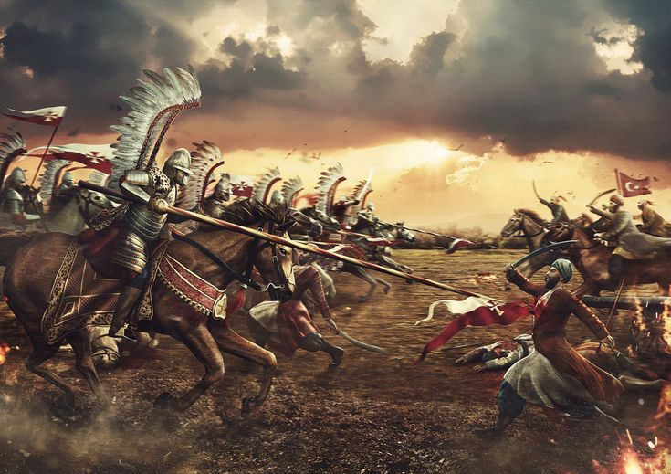 Polish Winged Hussars charging against Ottoman infantry during the Siege of Vienna