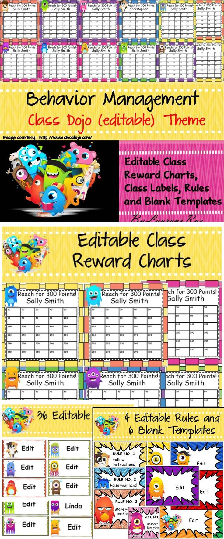 This resource comprises of 38 editable Reward Charts, 36 editable class labels, 10 editable single page templates that can be used with Class Dojo. If you are not familiar with Class Dojo, learn more about it here: http://www.classdojo.com/ https://www.yo
