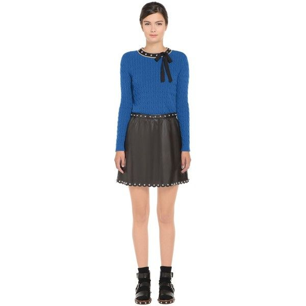 REDValentino Spheres And Bow Wool Blend Sweater ($505) ❤ liked on Polyvore featuring tops, sweaters, slate blue, stitch sweater, metallic top, chunky cable knit sweater, cable sweaters and metallic long sleeve top
