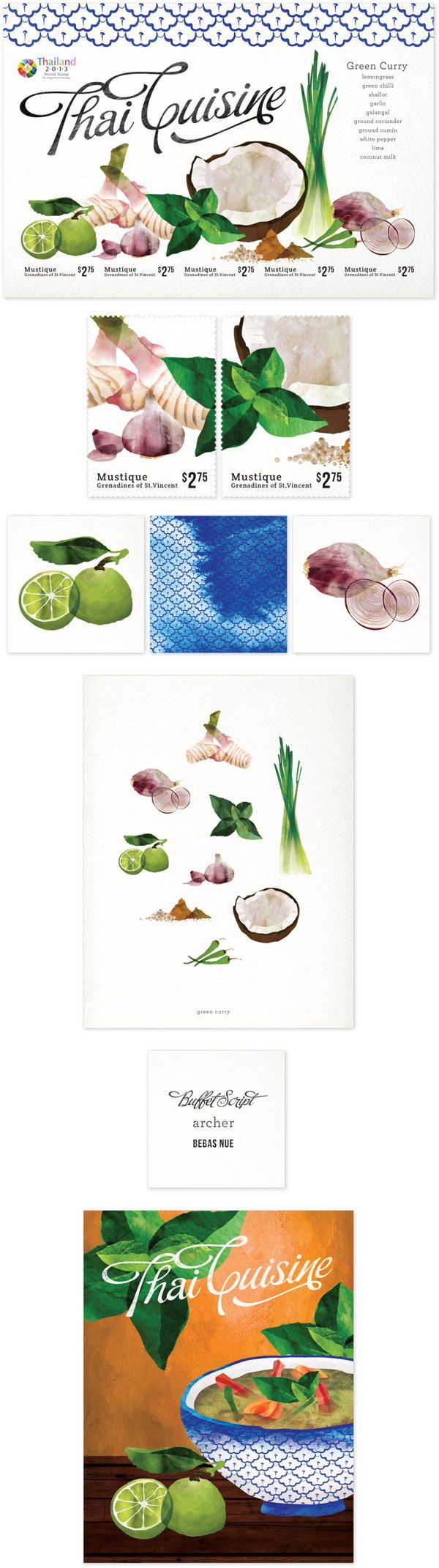 Thai ingredients water colour