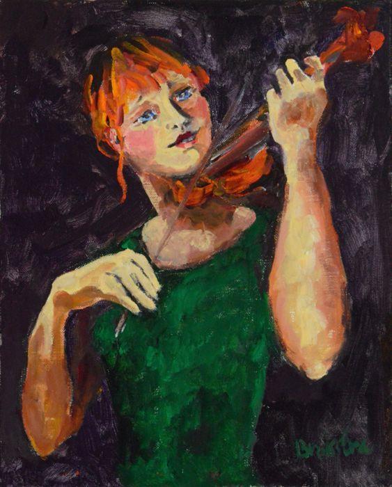 Anke Brokstra (1940-) - Violiste  Eén van de violisten uit de serie musici. Elke keer weer volstrekt uniek. Goed getroffen in haar concentratie en het opgaan in de muziek van Dvořák. Je hoort de klank van haar viool. 40 x 50 cm. in een fraaie bronskleurige lijst. Anke Brokstra werd als 14 jarige in de leer gedaan bij de schilder Freek van den Berg (1918-2000). Ze trouwde met hem en werd zijn model. Ze schilderde een omvangrijk oeuvre bij elkaar ondanks dat ze ook professioneel musicus werd…
