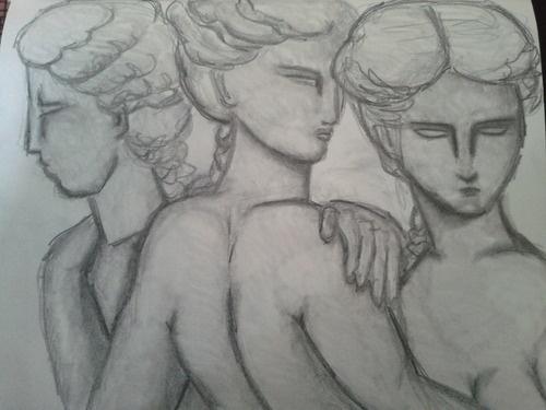 Les trois grâces, libre interprétation   Musée du Louvre, antiquités grecques