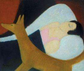 Berény Róbert - Alvó nő rókával, 1920-as évek második fele