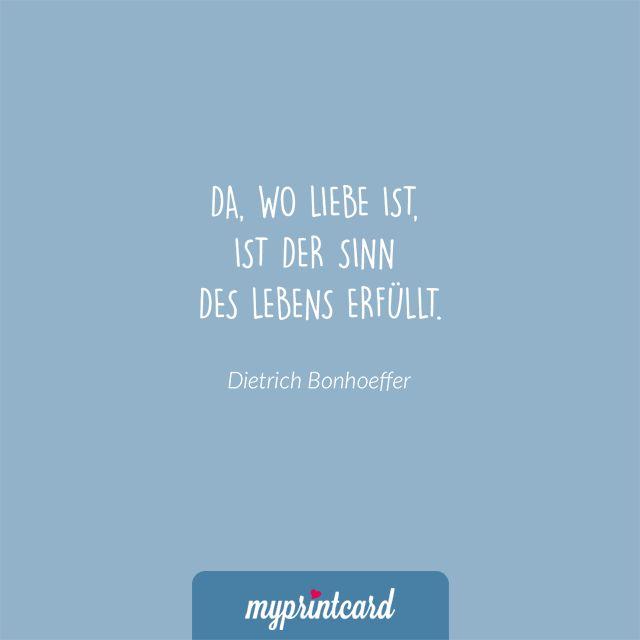Da, wo Liebe ist, ist der Sinn des Lebens erfüllt. - Dietrich Bonhoeffer    #zitate #hochzeit #liebesspruch #liebessprüche #liebe #ehe #heiraten #liebeszitat #zitatdestages