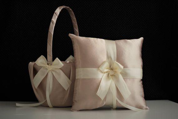 Champagne Wedding Basket \ Beige Ring Bearer Pillow \ Beige Flower Girl Basket \ Champagne bearer \ Beige wedding pillow \ Champagne Basket