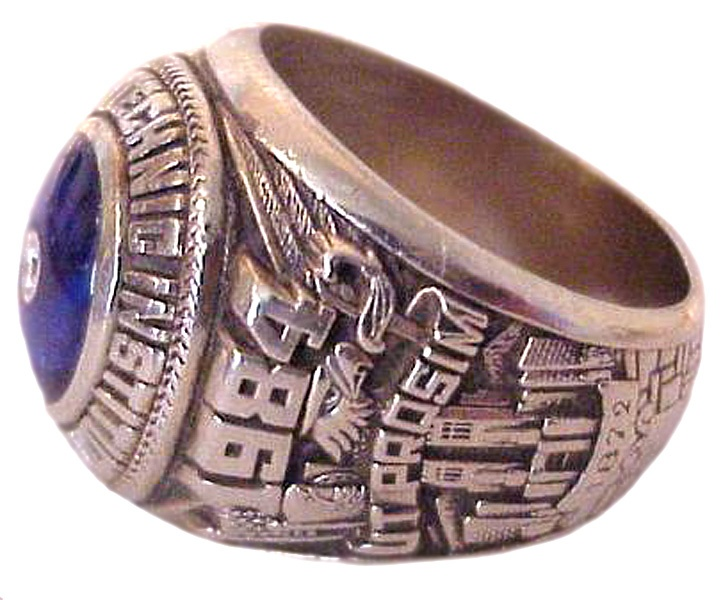 Class of 1984 university side College rings, Spring