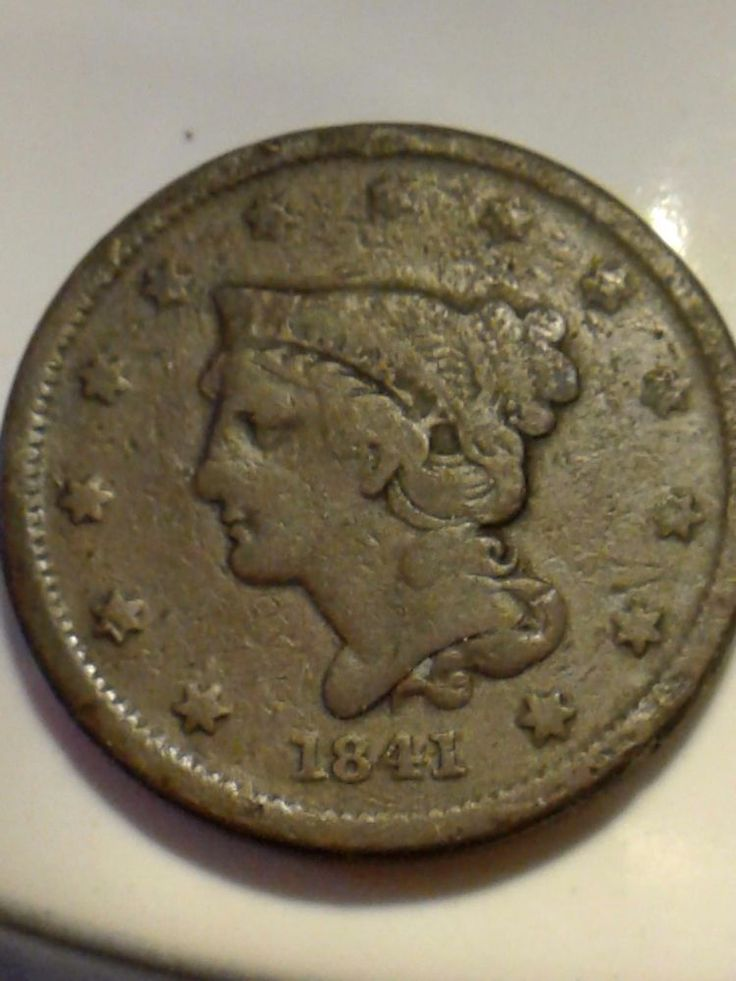1841 Braided Hair Large Cent USA IMITED STATES OF AMERICA ANTIQUE COIN