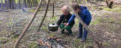 kinderfeestje bushcraft, kinderfeestje natuur, hutten bouwen   in de vrije natuur