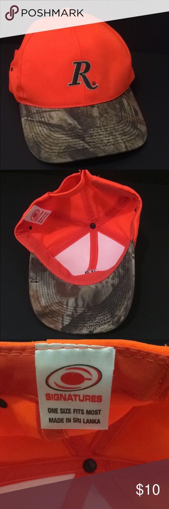 [Remington] Orange Camo Men's Hat Baseball Cap Euc Hunting orange cap Camo bill Remington gun brand Worn once in excellent, clean condition! remington Accessories Hats