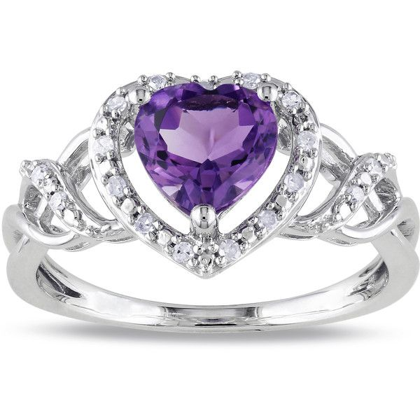 Miadora Sterling Silver Amethyst and 1/10ct TDW Diamond Heart Ring... ($81) ❤ liked on Polyvore featuring jewelry, rings, purple, purple engagement rings, sterling silver engagement rings, wide-band rings, heart shaped engagement rings and round engagement rings