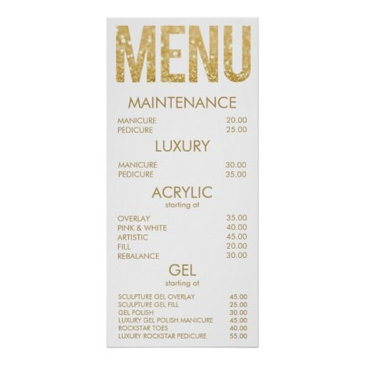 Black & Gold Glitter Salon Menu Wall Poster