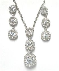 .925 Sterling Silver Bridal Jewelry Set With CZ: Silver Bridal, Bridal Jewelry Sets