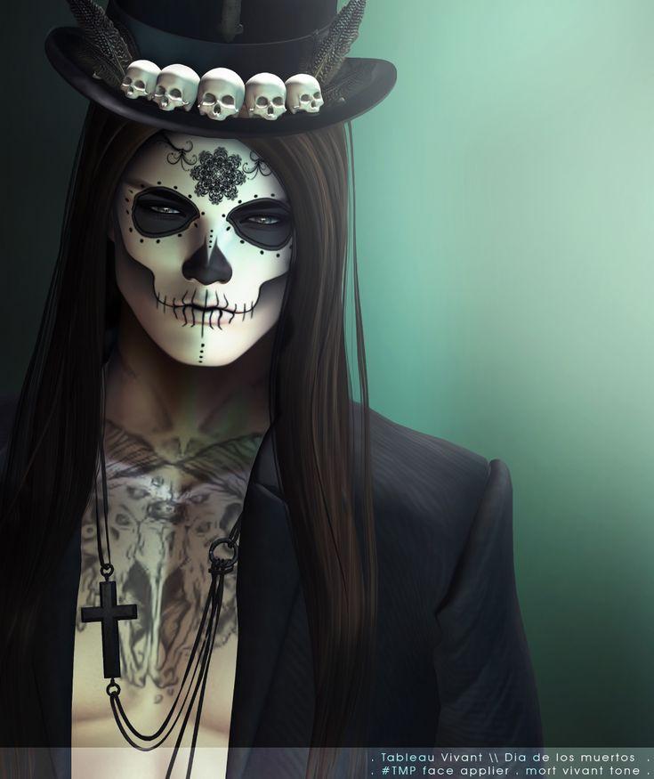 Burtonette and Dia de los muertos Halloween makeup, Skull ma