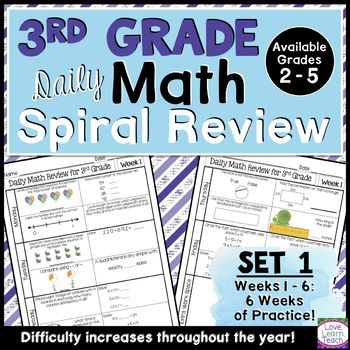 This resource can easily be used as spiral math morning work, daily math review, math warm-ups, or even homework! This spiral math review has been designed to help keep math concepts fresh all year, and it saves you time by simplifying your morning work routine. This resource is part of my 3rd grade version of Morning Work Spiral Math Review.