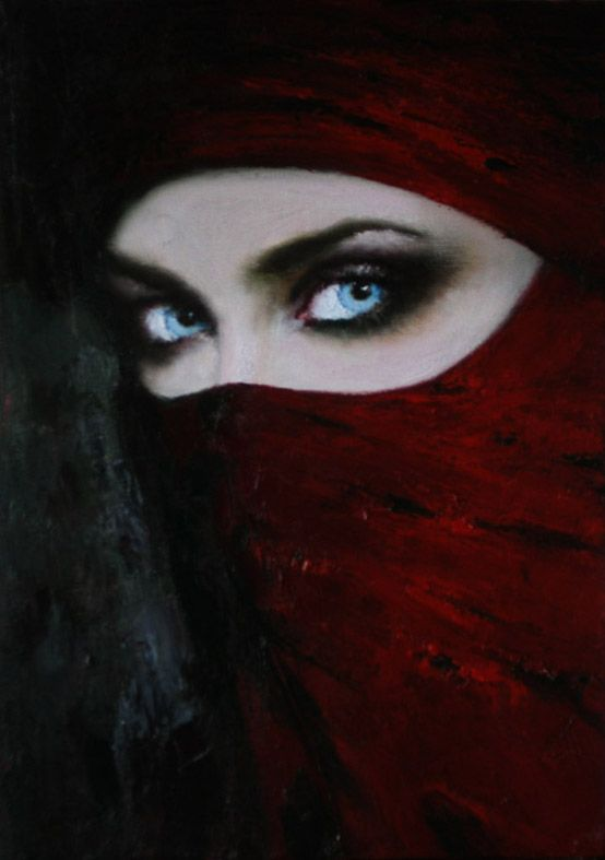 Penetrating eyes of the Lady in Red | Taras Loboda 1961 | Ukrainian Portrait painter