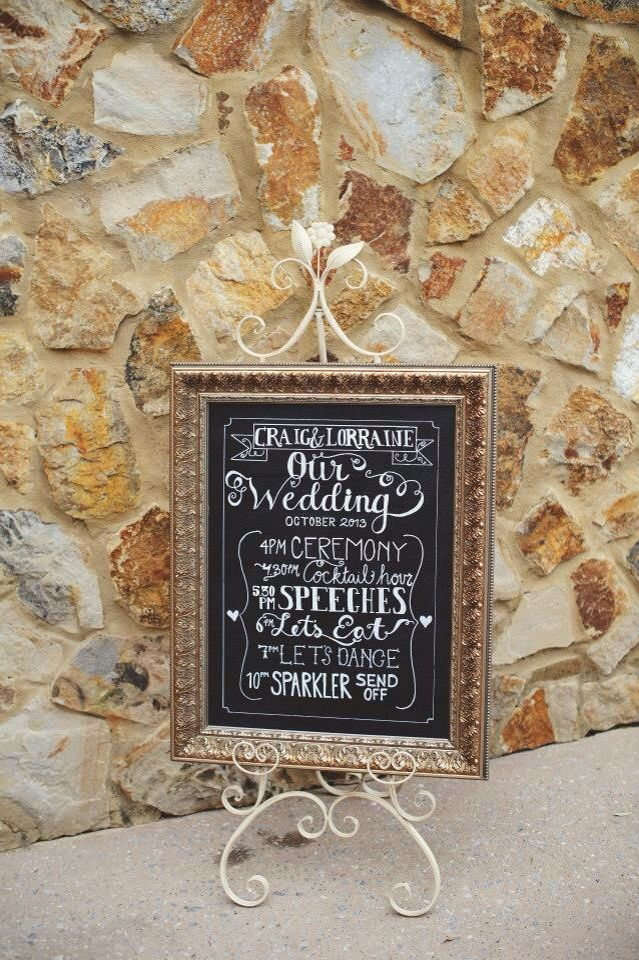 Wedding order of the day chalkboard