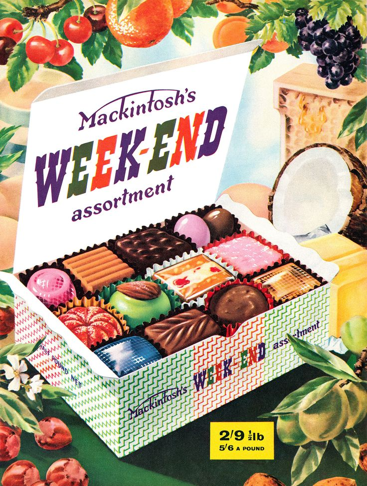 1958 Mackintosh's Weekend vintage candy chocolate advertisement