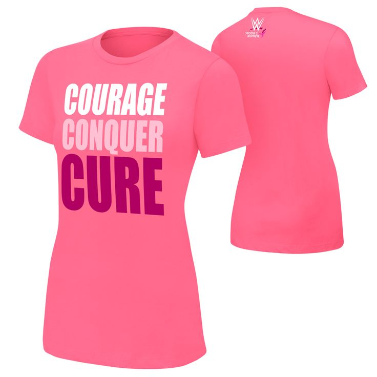 Women's #WWE #CourageConquerCure Pink T-Shirt