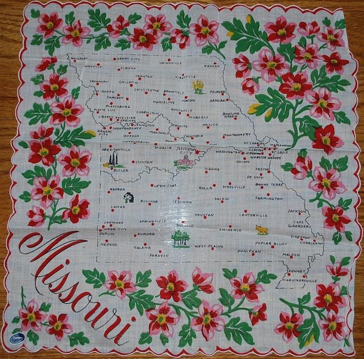 Missouri State Map- Red Hawthorn ....[Handkerchief / Scarf]