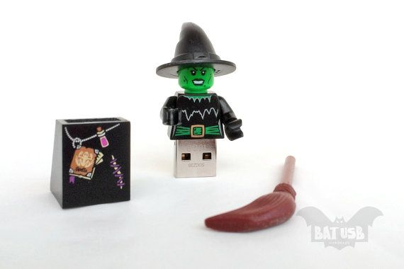 BAT™ 16GB USB flash drive - Memory Stick - Lego® original Minifigure - Witch with base and hat - Lego usb with legs cap - Halloween usb by Think4HandmadeArt, €50.00