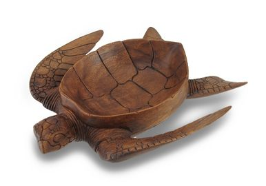 Hand Carved Mahogany Sea Turtle Medium Centerpiece Bowl