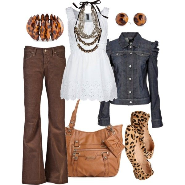 Love the dark brown cords with blue jean jacket. Love the bag; shoes & earrings are cute too!   animal instinct, created by htotheb on Polyvore