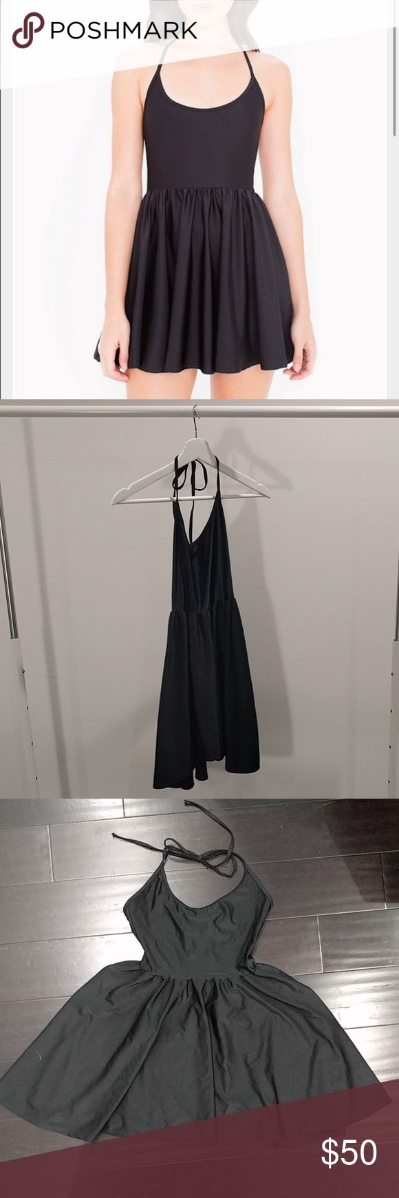 American Apparel // figure skater dress // US M American Apparel Figure skarter dress size US Medium black 21 inches in length Tie back around neck Never worn but no tags American Apparel Dresses Mini