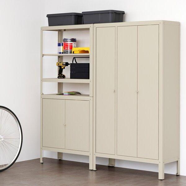 Kolbjorn Etagere Avec 2 Rangements Beige 171x37x161 Cm Ikea En 2020 Rangement Rangement Pour Porte Armoire Rangement Garage