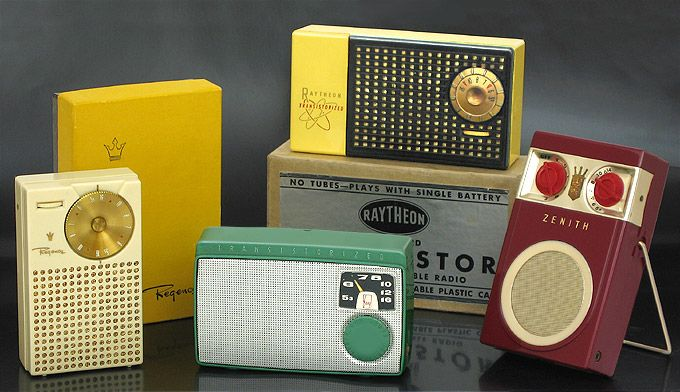 Vintage transistor radios: Regency TR-1, Sony TR-55, Raytheon T-100, and Zenith Royal 500, collectible radios