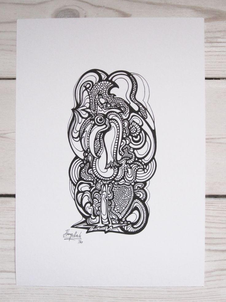 """""""Stork"""" by hurupmunch Printed illustration on akvarel paper A4: Dkk 150,-"""