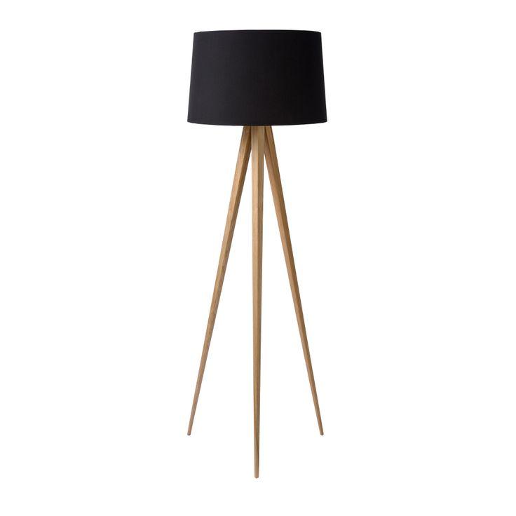 Lampadaire trépied en bois avec abat jour en tissu noir par LUCIDE