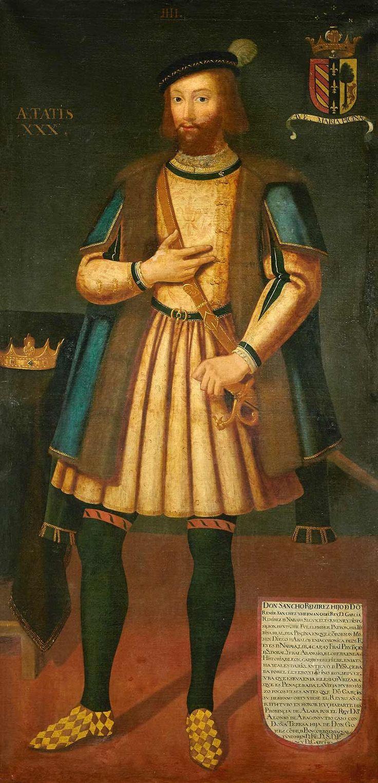 ESCUELA ESPAÑOLA, SIGLO XVIIRetrato del Rey Sancho Ramírez de Aragón con escudo de armas de la Divisa Real de la Piscina.